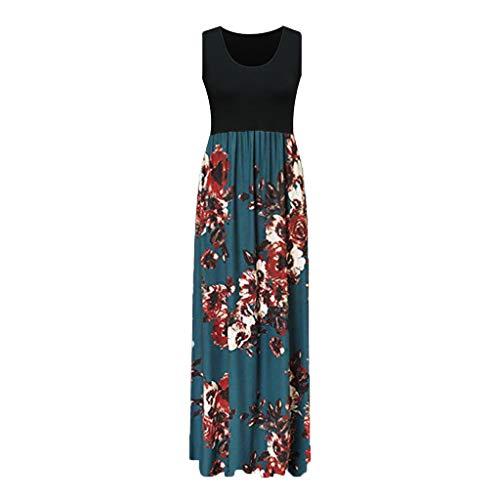 Audrey Tank - FengGa Women's Tank Long Dress Summer Casual Floral Printed Sleeveless O-Neck Print Maxi Beach Long Dress Blue