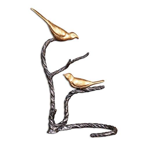 Branch Iron Wrought (Zinc Decor Metallic Gold Birds on Twisted Wrought Iron Branch)