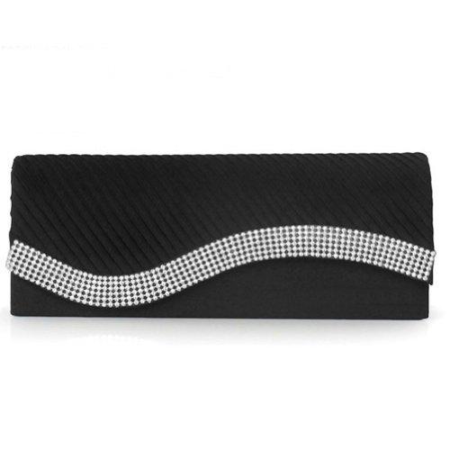 Damara Womens Pleated Satin Flap Crystal Clutch Evening Bag, (Satin Flap Clutch)