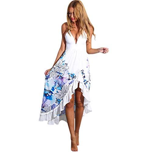FANFU Women Ladies Print Summer Long Color Mop Fishtail Dress ()