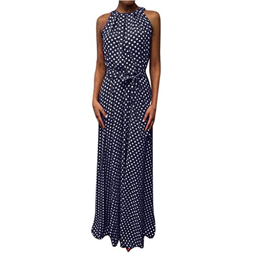 CCatyam Plus Size Dresses for Women, Skirt Dot Print Sexy Loose Bandage Casual Party Fashion Blue