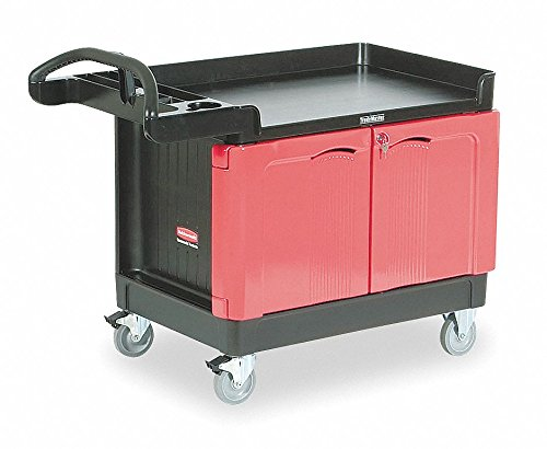 Rubbermaid Commercial TradeMaster 2-Door Cabinet Utility Cart, Large, FG453288BLA (Cabinet Inch 49 Storage)