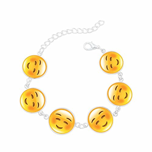Novelty Perlina - Emoji Novelty Toy Wristband Bracelets for Children - 6 Mixed Emoji Design Novelty Bracelets Jewelry Gifts (F)