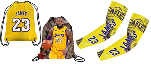 Forever Fanatics James #23 Basketball Gift Set ✓ James #23 Picture Drawstring Backpack Gym Bag & Matching Picture Compression Shooter Arm Sleeve (Youth Size (6-13 Years), James #23)