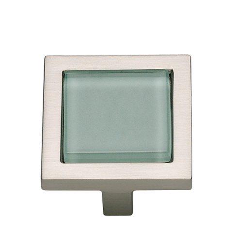 Atlas Homewares 230-GR/BRN 1-3/4-Inch Spa Green Square Knob, Brushed Nickel