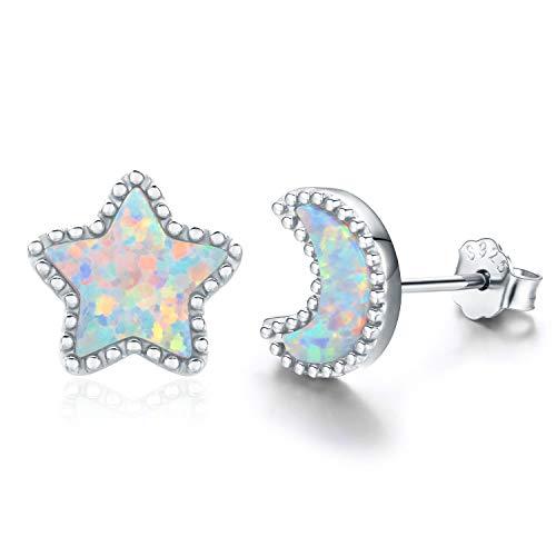 - Moon and Star Earrings, Moon and Star Jewelry 18K Gold Plated 925 Sterling Silver Opal Star Earrings Moon Earrings for Women (Silver)