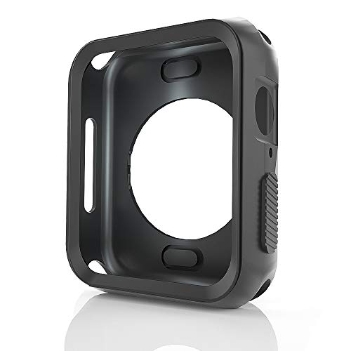 WERONE Compatible with Apple Watch 4 44mm Screen Case , Durable TPU All-Cover Case?Soft Silicone Replacement Case compatible with Series 4[ Black]
