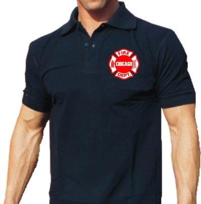 Poloshirt navy, Chicago Fire Department Standard-Emblem auf der Brust feuer1