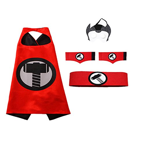 2 Pack Cloak, Toddler Kids Halloween Birthday Costume Cape, Superhero Batman Mask/Waistband/Wrist Set Cloak -