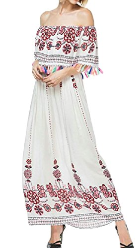 Boho Dresses Ethnic White Womens Printed Cromoncent Off Shoulder Maxi Tassel Style Beach gZ5xqEwqv