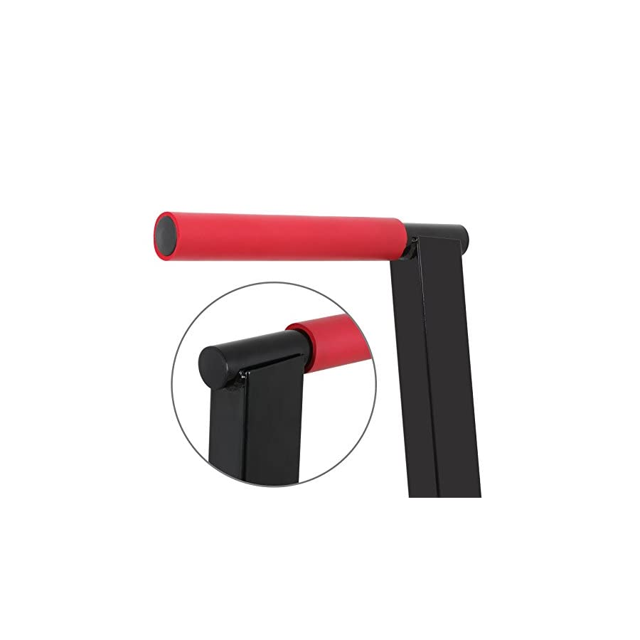 F2C Deluxe Multifunction Heavy Duty Bicep Tricep Exercise Training Parallel Bar Dipping Station Bars Self Standing Dip Bar Stand W/Red Rubber Padded Grips