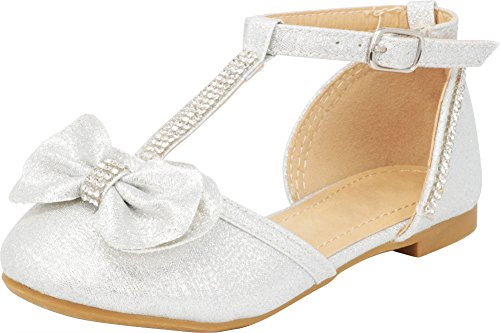(Cambridge Select Girls' Closed Toe T-Strap Buckle Crystal Rhinestone Bow Ballet Flat (Toddler/Little Kid/Big Kid),2 M US Little Kid,Silver)
