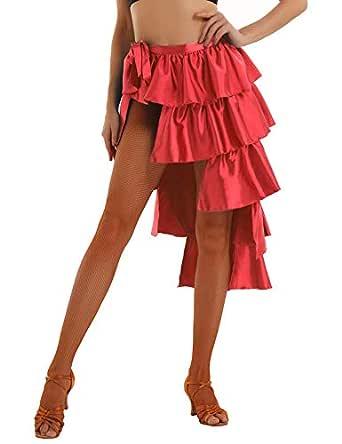 YiZYiF Falda Danza Latina Mujer Chica Falda Flamenco Capa Larga ...