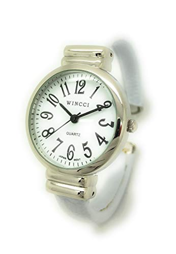 White Bracelet Watch Ladies (Ladies Snakeskin Leather Bangle Cuff Watch Round Case White Dial Wincci (White))