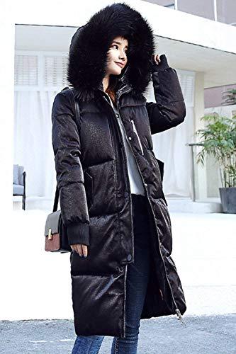 Moda Confortevole Nero Parka Vento Giacca Abbigliamento Invernali Cerniera Con Monocromo Laterali Coat Donna Pulsante Manica Cappuccio Pelliccia Sintetica Tasche Lunga 5nxrTnFHw
