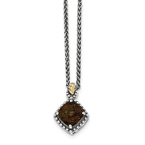 Solid 925 Sterling Silver with 14ky Brown Smoky Simulated Quartz Cushion Necklace Chain 18