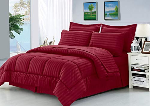 (Hemau Premium New Soft Wrinkle Resistant - Silky Soft Dobby Stripe Bed-in-a-Bag 8-Piece Comforter Set -Hypoallergenic - Full/Queen, Burgundy | Style)