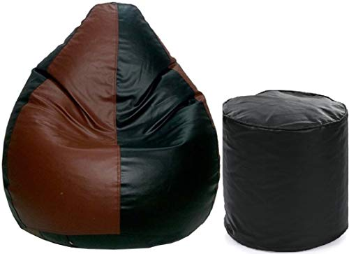 MADAAR HOMEZ Teardrop Bean Bag Cover  amp; Foot Stool Only  Without Beans   Black Brown,XXXL