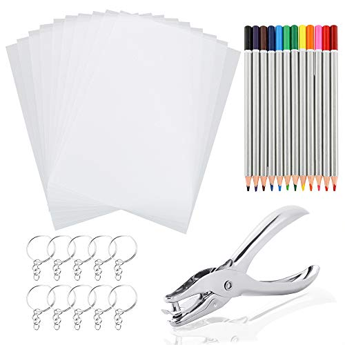 Auihiay 33 PCS Heat Shrink Plastic Sheet Kit Include 10 PCS Shrinky Art Paper, Hole Punch, Keychains, Pencils for Kids Creative Craft (Shrink Plastic Art)