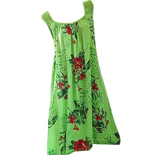 Women Floral Printed Crew Neck Tank Dresses Casual Sleeveless Swing Dress Casual Tunic Top T Shirt Dress by Lowprofile Green