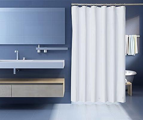 ZenFresh Anti Mildew Antibacterial Heavy Duty 10 Gauge Shower Curtain Liner 3 Magnets White 72 Inch X