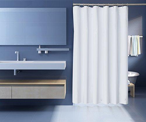 Zenith Plastic Shower Curtain (Premium PEVA Shower Curtain Liner Anti Mildew Antibacterial Heavy Duty 10 Gauge 3 Magnets, White 72 inch x 72 inch)