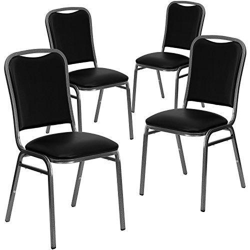 Flash Furniture 4 Pk. HERCULES Series Stacking Banquet Chair in Black Vinyl - Silver Vein Frame
