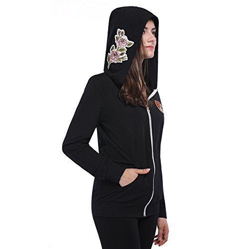 Fancyqube Women's Floral Embroidered Zip Up Hoodie Black M - Embroidered Hoodie Jacket