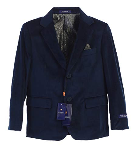 Gioberti Big Boys Formal Velvet Blazer with Solid Buttons, Navy B, Size -