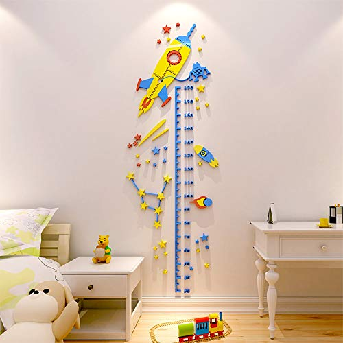 UFO Rocket Height Sticker 3D Stereo Sticker For Kids Room Acrylic Wallpaper Child Height Measure Wall Sticker Home Decoration
