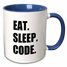 "3dRose mug_180391_6 ""Eat Sleep Code Computer Coder. Programmer. love To Program. Coding"" Two Tone Blue Mug, 11 oz, Blue/White"