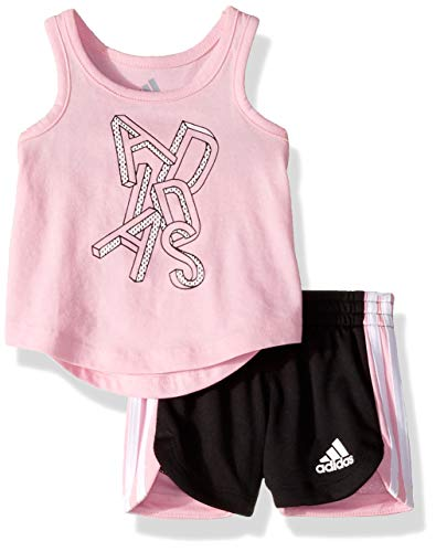 adidas Baby Girls Top and Short Set, Stripe Light Pink 6 Months