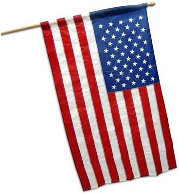 2 1//2-Ft by 4-Ft Embroidered Nylon US Flag Kit w// 5-Foot Wood Pole /& Bracket