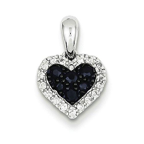Argent Sterling diamant et saphir JewelryWeb-Pendentif Coeur
