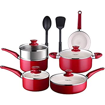 COOKSMARK Pots and Pans Set White Ceramic Coating Nonstick Aluminum Cookware Set With glass lids and Nylon Utensils Sauce Pan with Steamer Dishwasher Safe ...