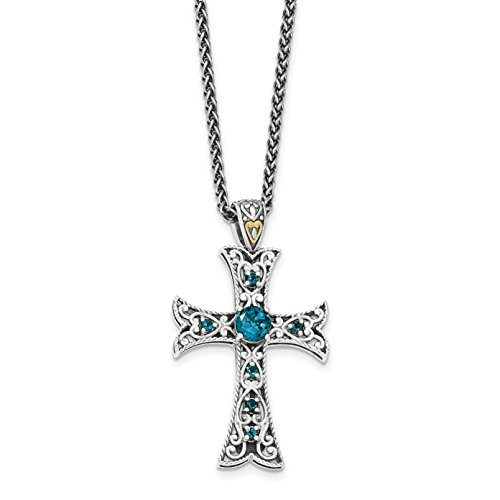 ICE CARATS 925 Sterling Silver 14k London Blue Topaz Cross Religious Chain Necklace Gemstone Fancy Fine Jewelry Gift Set For Women Heart by ICE CARATS