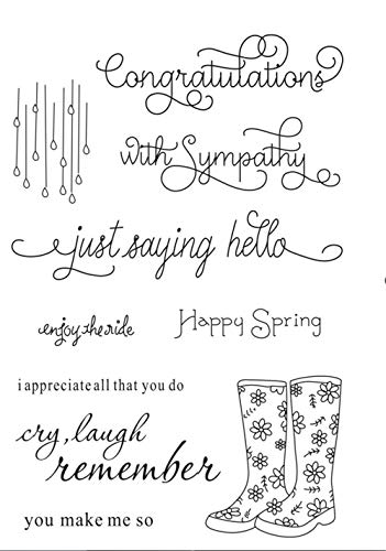 Rainy Day Rubber - Happy Spring Rain Boots Rainy sentiments Rubber Clear Stamp/Seal Scrapbook/Photo Decorative Card Making Clear Stamps
