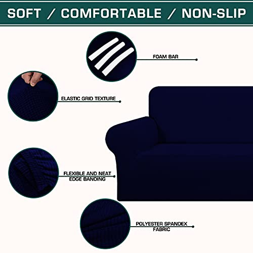 TFJ Stretch Couch Cover for Dogs, Soft Sofa Cover, XL Couch Slipcover with Elastic Bottom Anti-Slip Foam Washable Furniture Protector for Pets, Kids