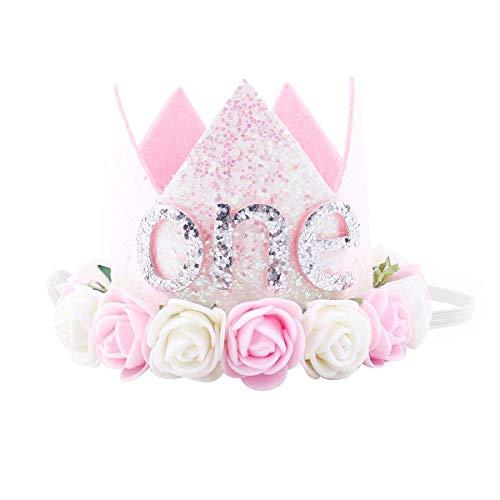 (iMagitek Baby Girl First Birthday Crown Hat, Baby Princess Rose Flower Tiara Crown Headband Cake Smash)