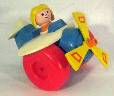 (Vintage Airplane Plane Pull TOY w/ Pilot # 171 Little People 1980)