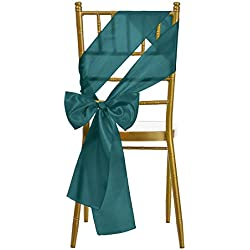 Remedios 10 Pieces 6x108 inch Satin Chair Sash Cover Bow for Wedding Dining, Teal Blue