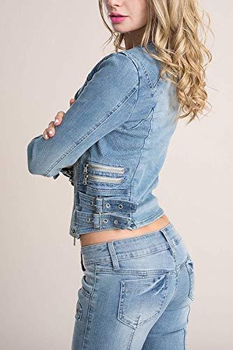Primaverile Jeans Fidanzato Donne Battercake Casual Autunno Elegante Lunghe Corto Donna Fashion Giacche Casuale Fit Maniche Blau Giacca Slim Jacket Stile 4WqnqEaf