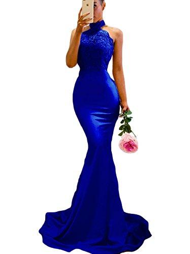 SDRESS Women's Lace Appliques Illusion Long Mermaid Skirt Bridesmaid Prom Dress Royal Blue Size 12
