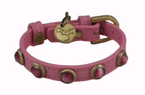 "10.5""-12"" neck, Cat Eye Pebbie Dark Pink Leather Dog Collar - Size: SMALL 1/2"" wide"