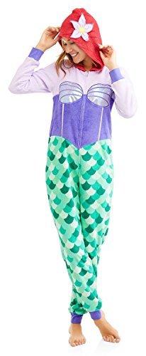 Richard Leeds Intl The Little Mermaid Ariel Women's Minky Union Suit Pajama (XS, Purple)