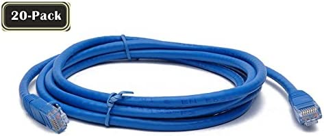 Blue BattleBorn 20 Pack 2 Foot CAT6a Ethernet Network Patch Cable Premium BB-C6AMB-2BLU