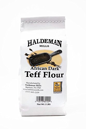 Haldeman Mills African Dark Whole Grain Teff Flour - Naturally Gluten Free Flour - Used for Ethiopian Bread Injera Recipes, 2 Lb. Package