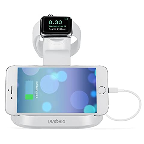 Apple Watch and iPhone Stand, iMobi4 Docking Charging Station & Holder 2 in 1 Dual Cradle for Apple Watch (38/42 mm) and iPhone 6 / 6s, 6 Plus / 6s Plus, 5s, 5c, 5 (12 South Iphone 6 Plus Dock)
