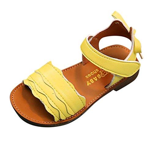 Sunyastor Children Kid Girls Wave Bowknot Flower Open Toe Non-Slip Beach Soft Sole Casual Slipper Shoes (Yellow, Asia 23)
