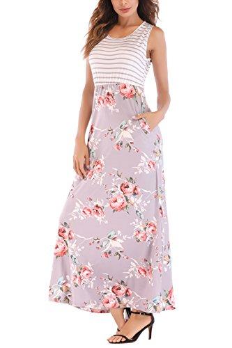 - Ortilerri Women's Sleeveless Stripe Tank Top Summer Beach Maxi Long Dresses (Stripe, L)